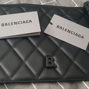 Balenciaga Black Touch Quilted Leather Clutch Bag
